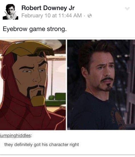 Robert Downey Jr Meme - eyebrow game strong robert downey jr know your meme