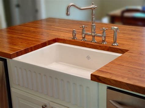 Kitchen Sink Tops Kitchen Charming Wood Countertops And Kitchen Faucets With Apron Front Sink For Kitchen Design