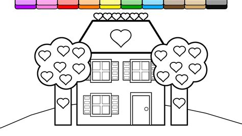 brick house coloring page coloring purple brick house and heart trees coloring page