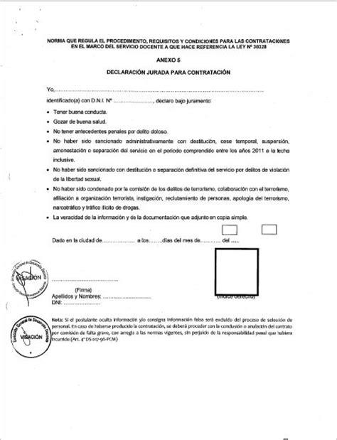 cronograma de declaracion jurada 2016 declaraci 243 n jurada para contrato docente 2016 161 descargar