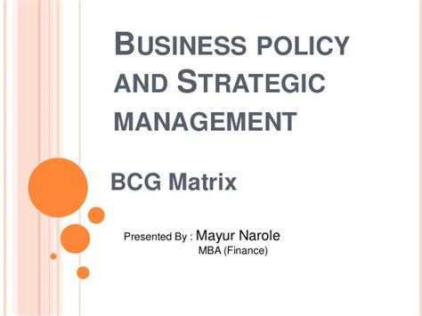Mba 517 Strategic Planning And Policy Analysis by Bcg Matrix With Exle