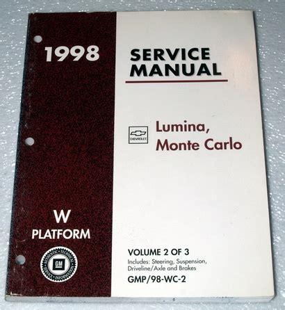 2002 monte carlo ls service and repair manual download manuals a 1998 chevy monte carlo ls z34 lumina ltzshop service repair manual vol 2 chassis ebay