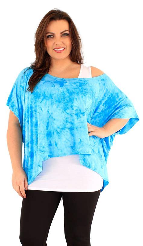 New Choco Tie Dye Syar I new womens plus size two tie dye print 3 4 kimono sleeve tops 12 22