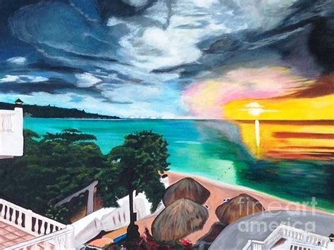 jamaican house painter beach house villas sunset in negril jamaica painting by cavan parkes