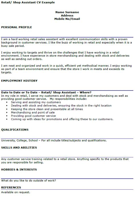 retail cv template uk retail assistant cv exle icover org uk