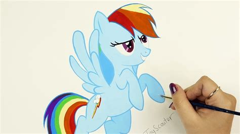 painting mlp rainbow dash speed drawing my pony watercolor