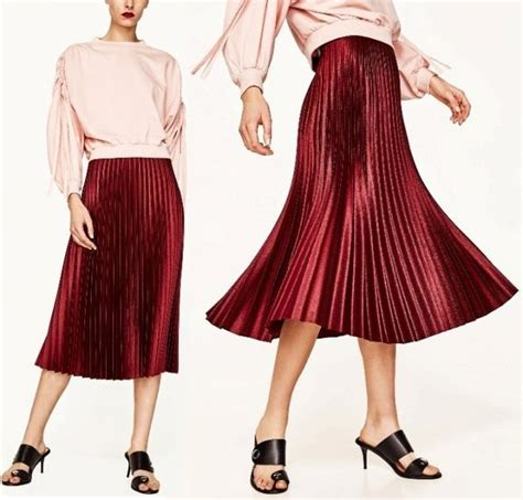 Midi Cardi Midi Cardy zara 2017 shinny maroon pleated midi skirt elastic waistband xs s m l ebay
