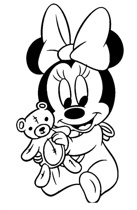 Minnie Mouse With Teddy Coloring Page - Free Printable