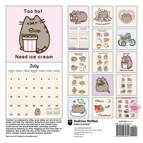 wall calendar 2018 cats of greece books pusheen the cat 2018 wall calendar 9781449484705
