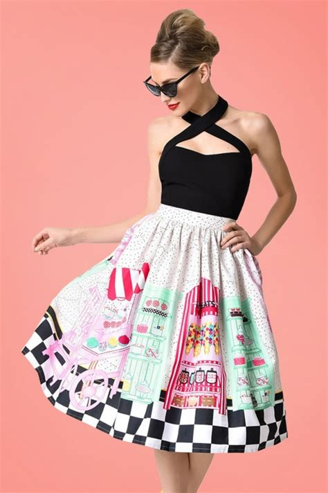 Skirt The Typical Day Swing The Usual Days Pv 0117015 50s shop swing skirt in multi