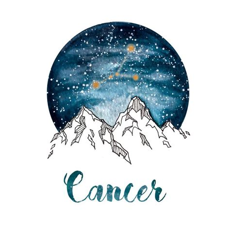 cancer zodiac watercolour painting watercolor print