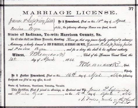 Indiana Marriage License Records Indiana Marriage Records
