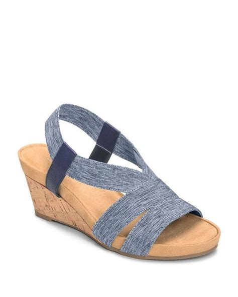 aerosoles light rail wedge sandals in blue denim combo