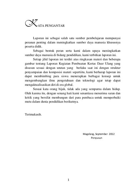 contoh membuat kata pengantar study tour contoh laporan daur ulang pdf