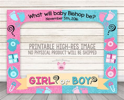 free printable gender reveal photo booth props printable gender reveal photo booth frame happy barn