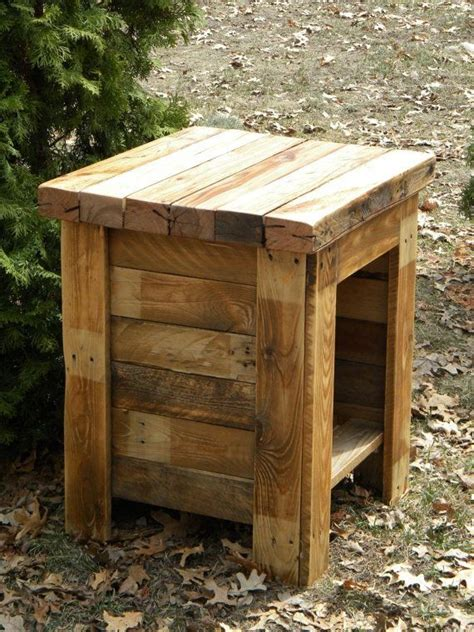small rustic end reclaimed pallet wood end sofa night stand