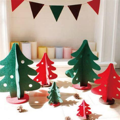 2016 new 3pcs set 3d mini felt christmas tree diy creative