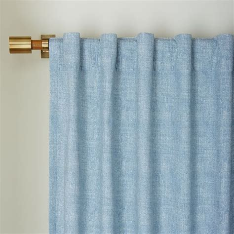 blue chambray curtains cotton canvas chambray print curtain belgium blue west