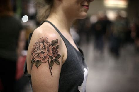 pale pink rose tattoo on shoulder best tattoo ideas gallery