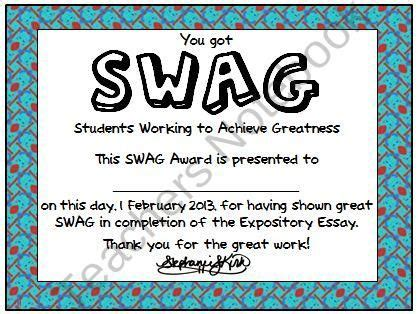 Student Swag Awards Printable From Kirks Corner On Teachersnotebook Com 1 Page Use This Student Award Template
