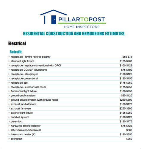 contractor estimate templates 6 contractor estimate templates free word excel pdf