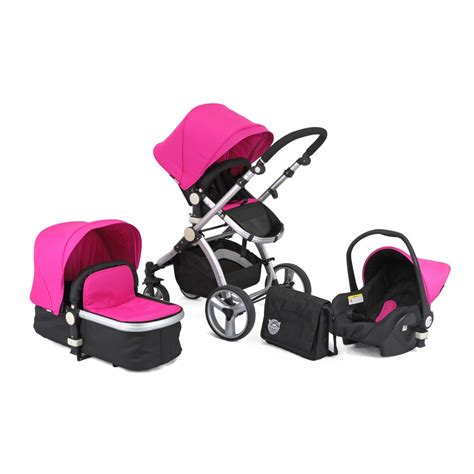 buy black and pink carrera sport 3 in 1 pushchair travel
