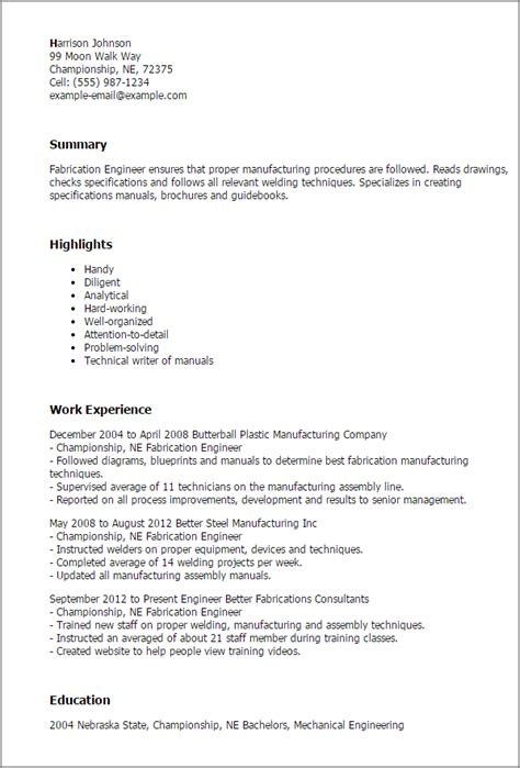 resume format welder fabricator professional fabrication engineer templates to showcase