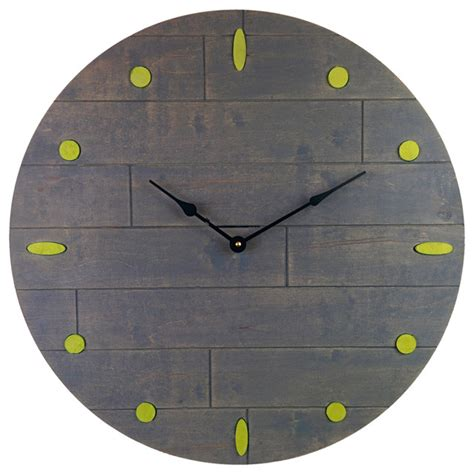 Large Rustic Gray Clock, Blue Numeral Marks   Wall Clocks