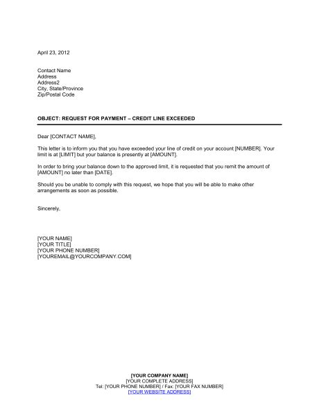 Payment Request Letter For Client Request For Payment Credit Line Exceeded Template Sle Form Biztree