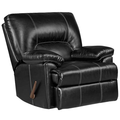 Rocking Leather Recliner by Exceptional Designs Taos Black Leather Rocker Recliner