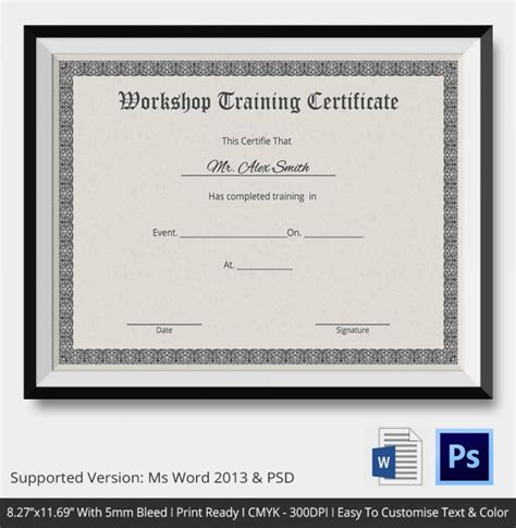 templates for workshop certificates training certificate template 14 free word pdf psd