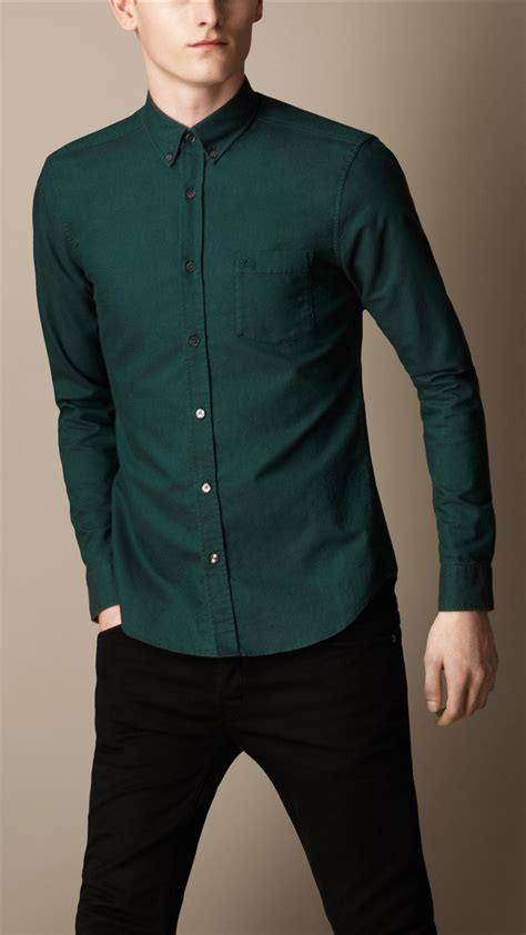 Fashion Shirt Jy773610 Green burberry buttondown cotton shirt in green for forest green lyst