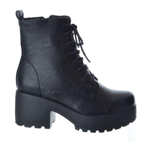 womens biker boots with heels womens ladies army combat platform lace up zip biker