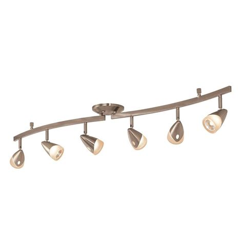 Fixed Track Lighting Fixtures Shop Portfolio 6 Light 45 2 In Brushed Steel Dimmable Fixed Track Light Kit At Lowes