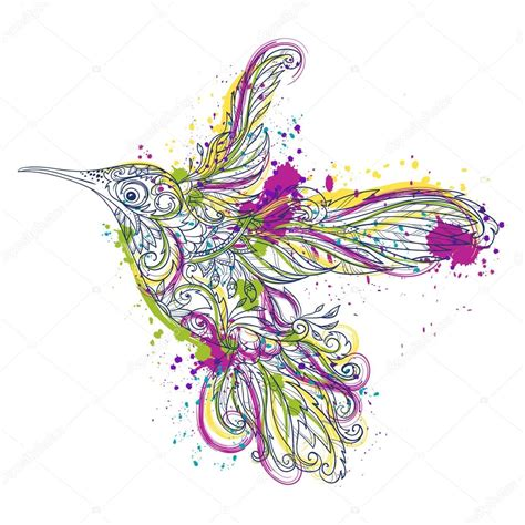 kolibri mit floralen ornament und abstrakte spritzer im