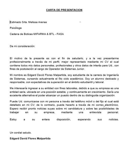 carta formal curriculum vitae edgar david flores malpartida carta de presentacion y curriculum vitae