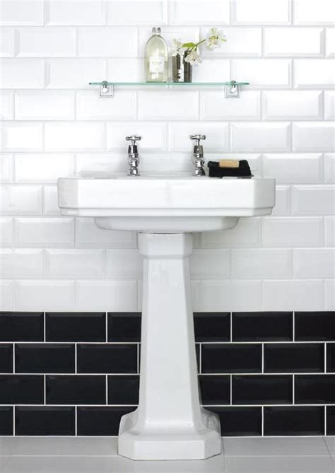 black and white border tiles for bathroom 10x20cm metro white bevelled brick tile by fabresa tiles
