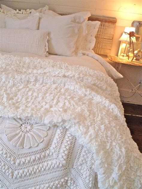 shabby chic cozy bed bedroom pinterest beautiful fluffy bedding and bed linens