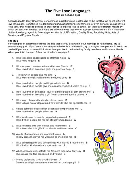 printable relationship quiz love languages test free
