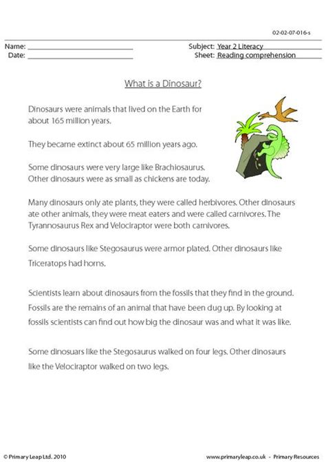 reading comprehension test year 1 this worksheet includes interesting facts about dinosaurs