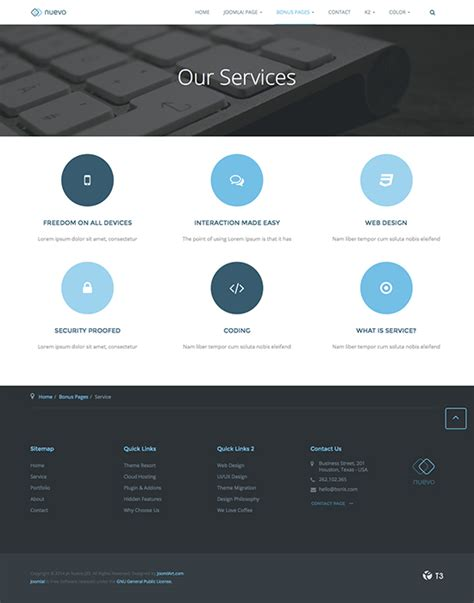 Ja Nuevo Responsive Joomla Template For Joomla 3 2 5 Joomla Templates And Extensions Provider Services Page Template