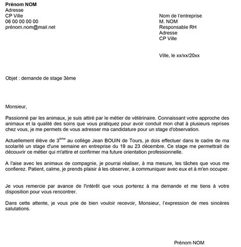 modele lettre de motivation stage veterinaire document