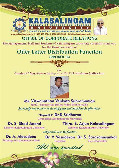 Letter Distribution kalasalingam academy of research and education offer