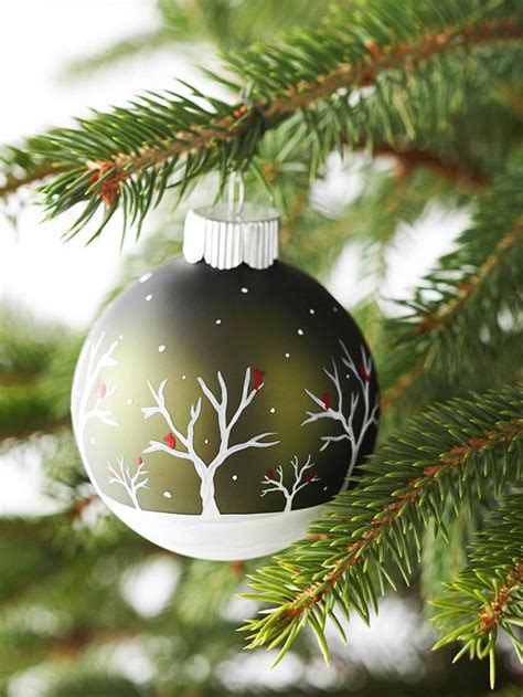 painted winter scene ornament