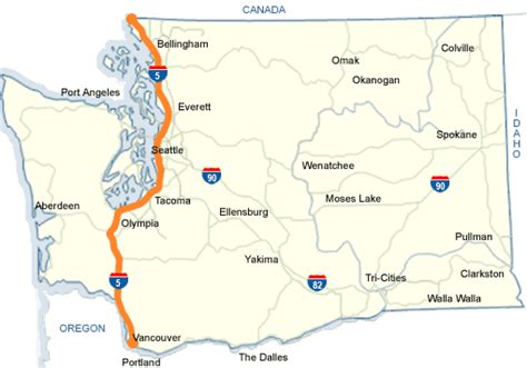 map of interstate 5 through oregon wsdot i 5 map