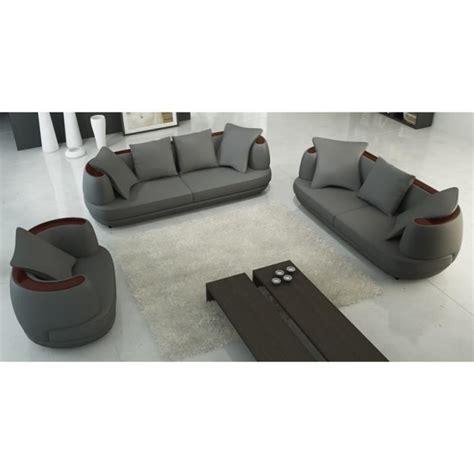 ensemble canap駸 ensemble canap 201 3 2 1 places en cuir gris ryga achat