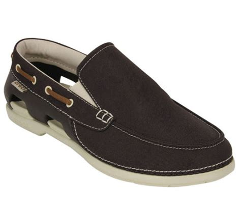 crocs men s beach line slip on boat shoes qvc - Crocs Men S Beach Line Boat Shoe Rubber Boat Shoes