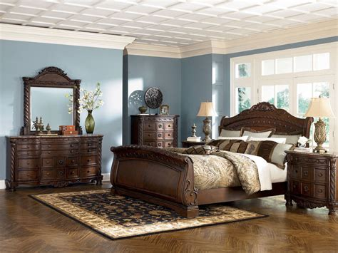king sleigh bedroom set ashley furniture b553 north shore queen or king sleigh
