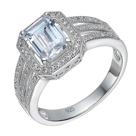 sterling silver large cubic zirconia emerald cut ring size