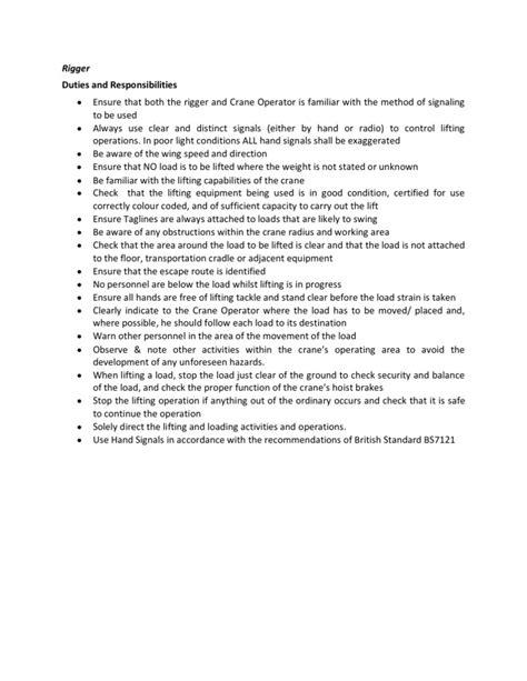 rigger duties responsibilities